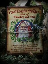 Primitive Christmas Santa Claus St Nick Naughty Or Nice Journal Cupboard Tuck