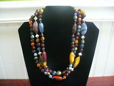 "Vintage 3 Strand Goldtone Metal Multi-Color Plastic Bead 19"" Necklace"