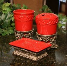 Red Bathroom Accessory Set by Drake Design NEW