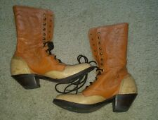 Tony Lama Ropers Lace Up Granny Victorian Western BOOTS Steampunk RARE SZ 8