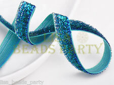 """New 5yards 3/8"""" 10mm Bling Ribbon Bows Wedding Party Decoration Sew Blue & Green"""