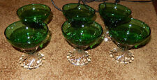 6 ANCHOR HOCKING FOREST GREEN INSPIRATION SHERBET GLASSES