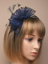Large Blu Navy Cerchietto Aliceband Fascinator con CAPPELLO Matrimonio Donna giorno Corsa ROYAL Ascot