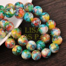 New 30pcs 10mm Round Charms Glass Loose Spacer Beads Green Yellow Colorized