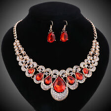 Gold Plated Ruby Crystal Gem Bridal Necklace Earring Wedding Party Jewelry Set