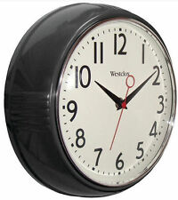 "Westclox Retro Black Kitchen 9.5"" Wall Clock Second Hand Battry Free US Shipping"