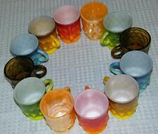 Lot 12 Fire King AH Kimberly Mugs Amber Blue Red Green Yellow & Peach Luster