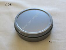 Three (3) NEW 2 oz Round Screw Top Lid Rust Resistant Metal Craft Tin Container
