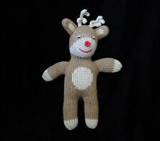"Zubels Brown Tan Red Nose Reindeer Knit Plush Soft Toy Bell Rattle 9"" Stuffed"