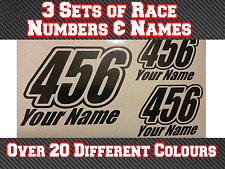 """3 Sets 8"""" Race Number Name Vinyl Stickers Decals MX Motocross Track Bike T18"""