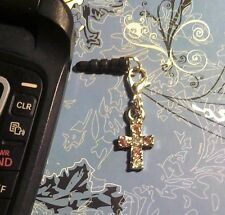 Rhinestone Cross Pink Cell Phone Charm~Dust Plug Cover~Android~$1 SHIP