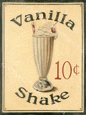 Vanilla Shake Metal Sign, Retro Diner Decor, Kitchen Decor, Ice Cream