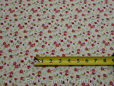Windemere Prints Tiny Red Roses w Birds on Cream BY YARDS  Moda Cotton Fabric