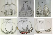A-29 Wholesale lot 10 pairs  Big Fashion Dangle and Hoop Silver Plated  Earrings
