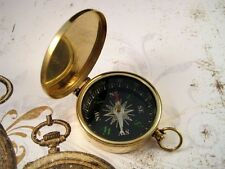 Large Brass Compass With Attached Lid (1) - L683 Jewelry Finding