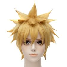 Naruto Golden Blond Short Straight Party Cosplay Anime Costume Full Hair Wigs
