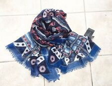 Zara Navy & Red & White Printed large Pashmina Scarf BNWT