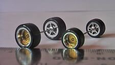 HOT WHEELS RUBBER TIRES SET  BBS TYPE METALLIC GOLD NEW REAL RIDERS BIG & SMALL