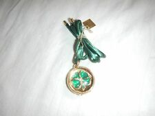NIB ESTEE LAUDER 2004 PLEASURES FOUR LEAF CLOVER Solid Perfume Necklace Pendant