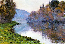 Oil painting Claude Monet - Banks of the Seine at Jenfosse - Clear Weather river