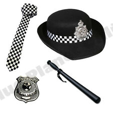 Wpc police woman chapeau cravate tonfa badge ladies fancy dress costume outfit