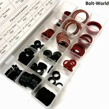 141 PIECES SEALING WASHER SET - ASSORTMENT RED FIBRE & BLACK RUBBER PLUMBERS TAP