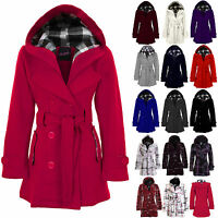 New Ladies Long Belted Button Hooded Duffle Military Jacket Womens Coat 8-20