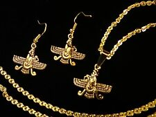 Small Gold Pt Farvahar Necklace Earring Iranian Persian Faravahar Pahlavi Gift