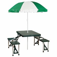 Stansport Picnic Table and Umbrella Combo Pack Green Outdoor Recreation Feature