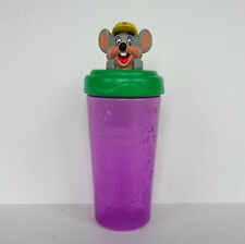 Chuck E Cheese Figural Travel Drinking Cup Lidded Chucky Mouse Head Souvenir Kid