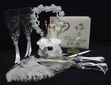 STAR WAR Han Solo Princess Leia Wedding Cake topper LOT glasses, server, book