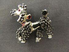 Vintage Petite Silvertone Black Red Poodle Brooch Pin Dog Prancing Animal Cute