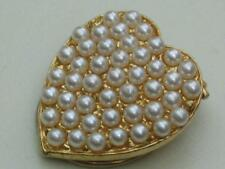 VERY PRETTY GOLD TONE FAUX PEARL HEART SCARF RING/CLIP;