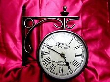 ANTIQUE VICTORIA STATION RAILWAY CLOCK LONDON DOUBLE SIDE CLOCK. USA SELLER!!