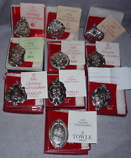 1983--1992 Towle Floral Series Christmas Sterling Ornaments Medallions Set 10