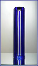 Vintage Deep COBALT ROYAL BLUE Pillar Vase CUT TO CLEAR CRYSTAL Lausitiz GERMANY