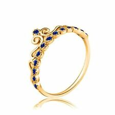 9ct Genuine Yellow GOLD Queen SAPPHIRE Crown Tiara Ring Jewelry Size 7