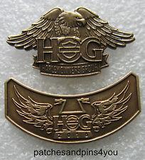 Harley Davidson HOG New Style Eagle Pin + 2016 HOG Pin. NEW! FREE U.K. POSTAGE!
