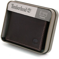 Mens Rugged Leather Wallet Timberland Delta Flip Up ID Passcase Bifold 2 ID +Box