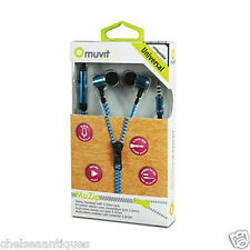 NEW MUVIT Headphone Kit Blue Zipper MUHPH0033 In-Ear Universal 3.5 3700615058812
