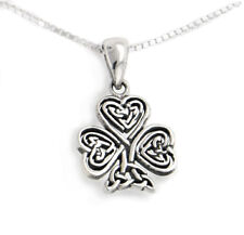 "Celtic Knot Irish Shamrock 3-Leaf Clover Sterling Silver Pendant 18"" Necklace"