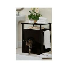 Litter Box Furniture Hidden Cat Dog Bed Bathroom Side Table Espresso Wooden NEW