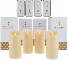 """Set of 4 Luminara 6"""" Flameless Candles with 4 Remotes Vanilla Scent -  Ivory"""