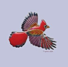 Bamboo Jewelry RED CARDINAL PIN Broach Cloisonne BIRD Christmas STERLING - Boxed