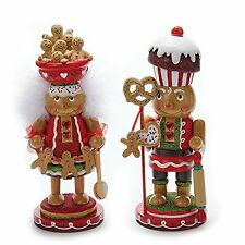 "11"" Hollywood Gingerbread Boy And Girl with Cookie Bowl & Cupcake Hat Nutcracker"