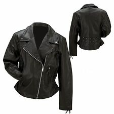 Womans Black Biker Genuine cowhide Leather Motorcycle  Riding Jacket Coat