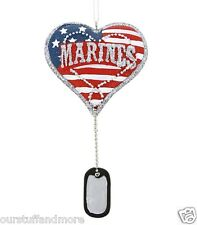 YEAR-ROUND Midwest-CBK Holiday Ornament/U.S. MARINES Military Heart with Dog Tag