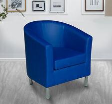 HomCom Tub Chair Modern PU Leather Barrel Club Arm Seat Sofa Padded Blue