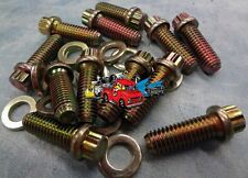 Cool looking 12 point Gold Zinc intake manifold bolts and washers Small Block