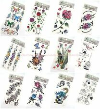 10 sheets temporary tattoo rose flower butterfly Mehndi Henna boho